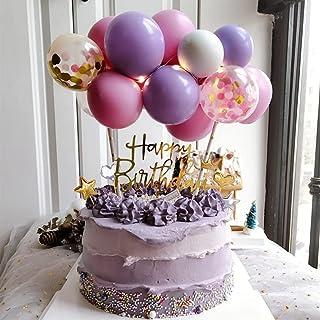 Balloon Birthday Cake Topper, Mini Balloon Garland Cake Topper Confetti Balloon Acrylic Happy Birthday Cupcake Topper for ...