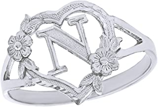 CaliRoseJewelry Silver Initial Alphabet Personalized Heart Ring - Letter N