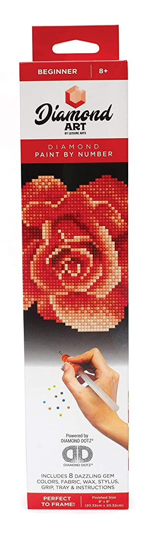 Leisure Arts - Diamond Art Sparkle Art Diamond Paint by Number Red Rose Kit – 5D Pixel Painting DIY Arts and Crafts for Kids Canvas Wall Decor