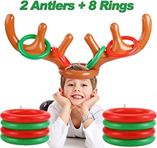 2 Pcs Christmas Party Favors Inflatable Reindeer Antler Ring Toss Indoor Outdoor Party Games for Kids, Fun Christmas Party Supplies Carnival Game for Holiday Family School Party (2 Antler 8 Rings)