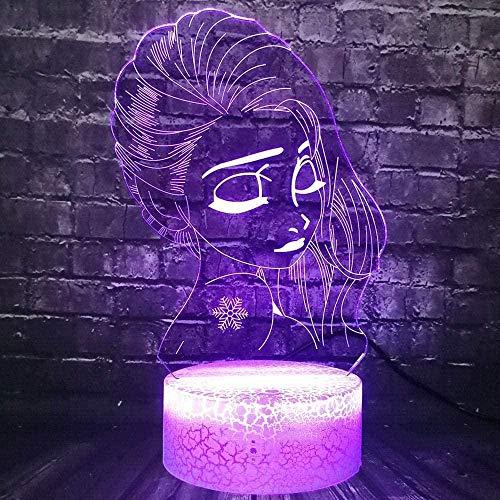 Ice Cream Princess Elsa Cartoon Movie Moon 3D Illusion Lampe,3D Illusions Nachtlicht, 3D Nachtlicht mit 7 Farben Ändern und Fernbedienung