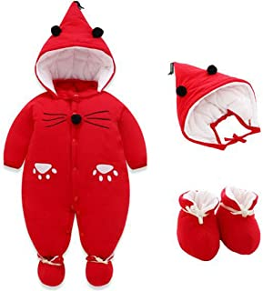 Aiweijia Rompers with Booties Hat Boys Girls Cotton Jumpsuit Infant 0-12 Months
