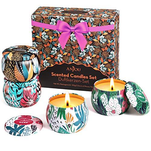 Juego de Velas perfumadas de Cera de Soja 100{5e24c1e34efe89b587dac792014c07724bacef4f61b6bda28d4d55f7ce078cfc} Natural, fragancias: Rosa, jazmín, Lavanda, Vainilla, Uso para aromaterapia, baño, Yoga, Navidad, cumpleaños, día de la Madre