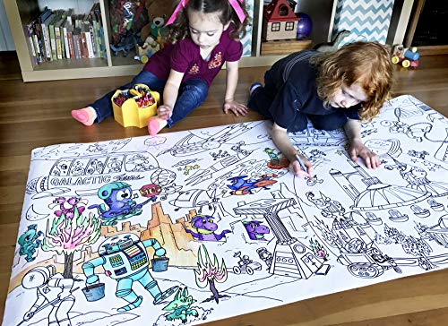 Giant 5ft Wall Size Coloring Poster 60' by 30' Huge Scene, Markers, Crayon or Paint, Quality Family Time, Birthday Party, Crafts, Events, Fun for All Ages (Space Station)