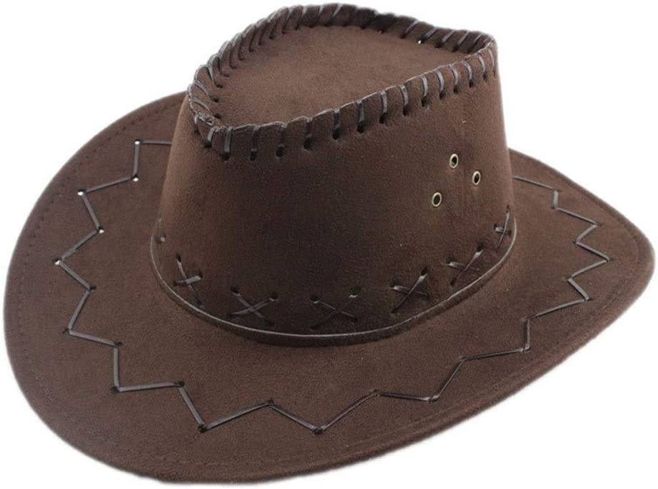 GR Jazz Cow Knight Suede Cowboy Cowgirl Fedora Hat West Montana Travel Summer Hat Sun Hat (Color : Dark Coffee, Size : 56-58cm)
