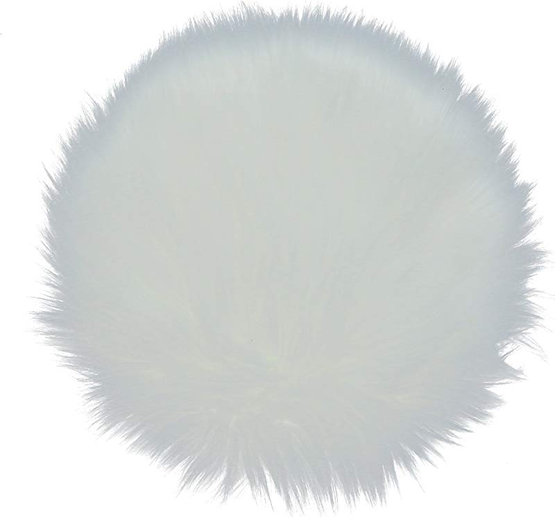 Buorsa 12 Inch Soft Faux Sheepskin Rouund Shaggy Shag Area Rugs White Fluffy Living Room Carpet Mini Small Size Fit For Photographing Background Of Jewellery