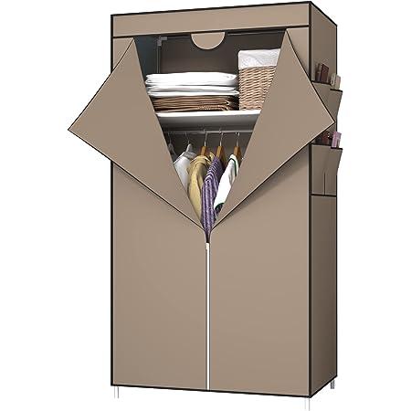 UDEAR Armoires Portables, Housse en Tissu Non Tissé avec 4 Poches latérales, Dressing de la Chambre, Facile à Assembler,Marron