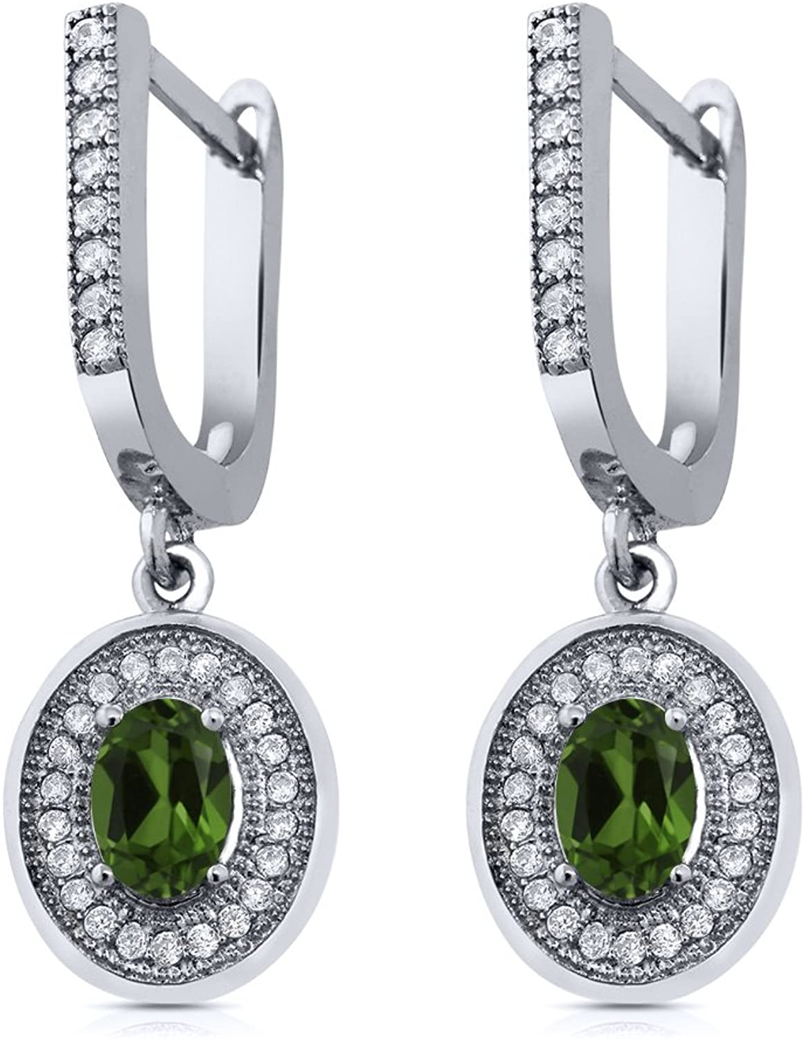1.50 Ct Oval Green Chrome Diopside 925 Sterling Silver Earrings