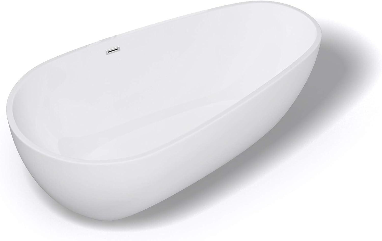 Sogood Freistehende Design-Badewanne Vicenza506 167x77x53 cm mit Ablaufgarnitur und überlauf aus Acryl in Wei und DIN-Anschlüssen