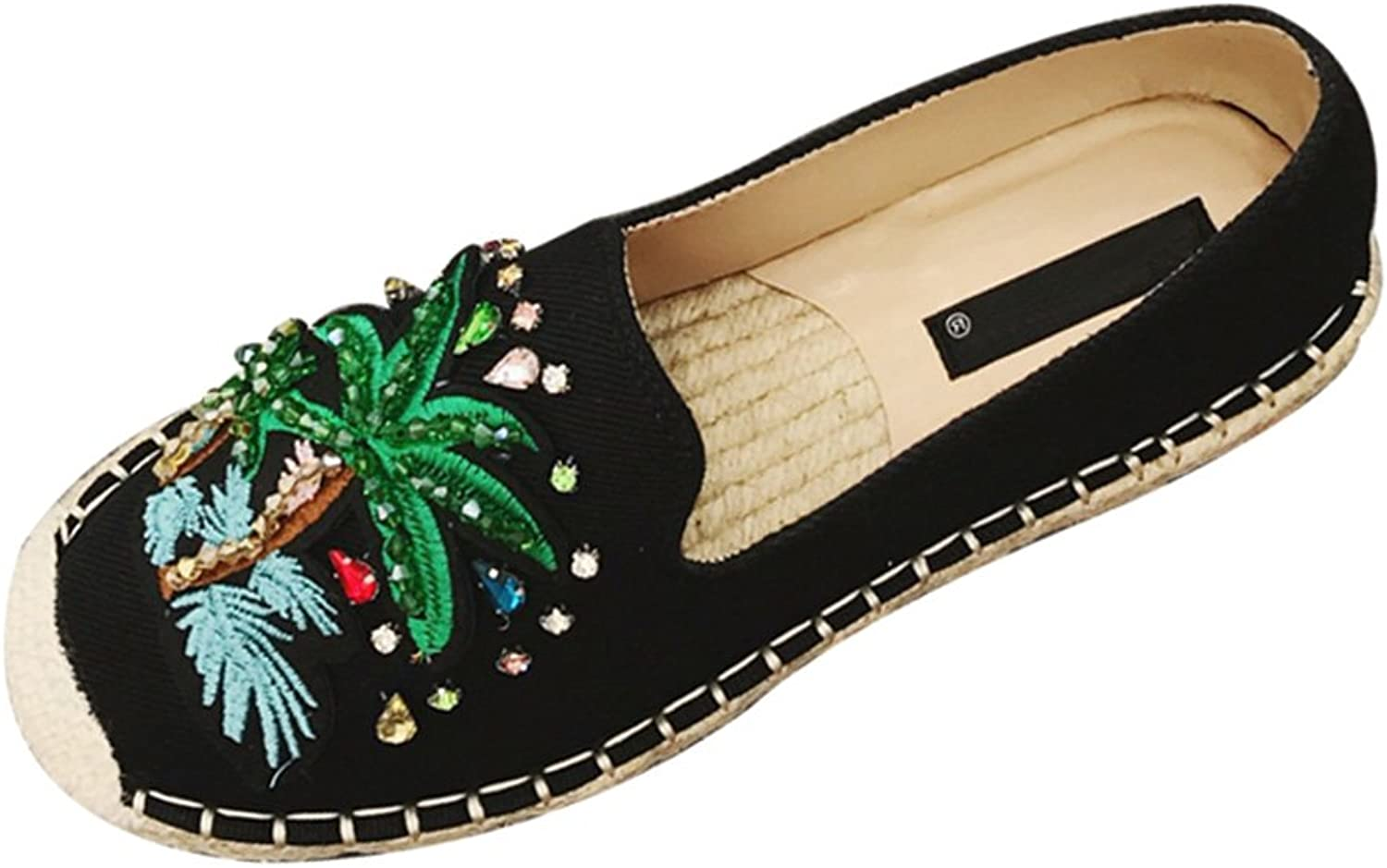 York Zhu Women's Coconut Tree Embroidery Flat shoes, Slip-On Crystal Fisherman Loafers