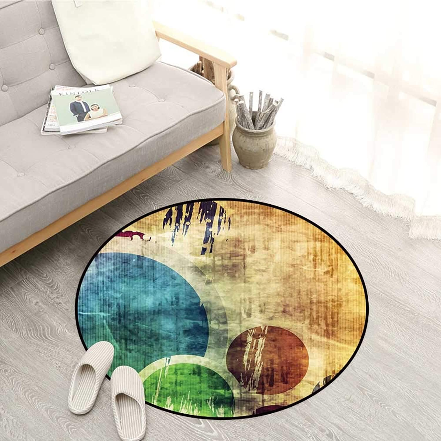 Grunge Carpets colorful Funky Circles Contemporary Style Spotted Texture Elements Abstract Graphic Sofa Coffee Table Mat 5'3  Multicolor