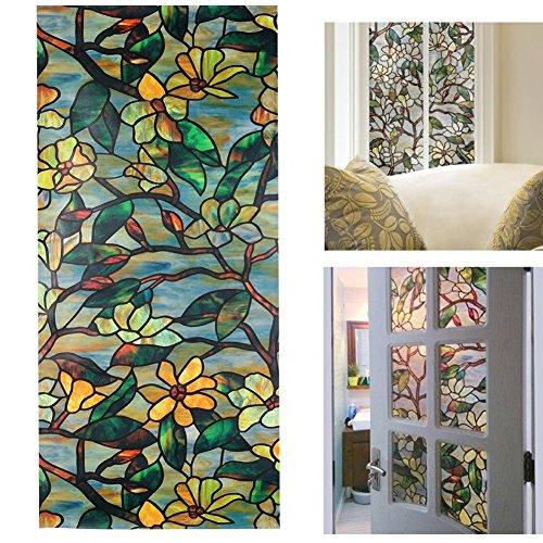 aiqi kein Kleber Fenster Folie, selbstklebend Statische Sun Isolierung Glas Aufkleber, Fenster Shades Privacy gebeizt Deko 6 Styles (17.7 x 39.4 zoll) Magnolia