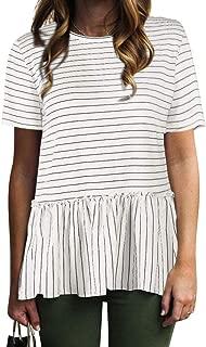 Women Casual Stripe Blouse Short Sleeve Shirt Tops Tunic Shirt Peplum Shirt