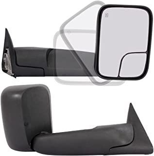 Roadstar Pair Towing Mirrors Fit for 98-01 Dodge Ram 1500 98-02 Dodge Ram 2500 3500 Truck Power Heated Flip Up Extendable Side Tow Mirrors with Support Brackets