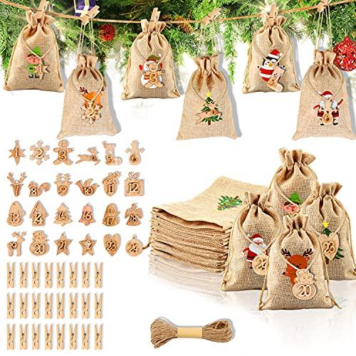 Calendrier De lAvent Sac, 24 Sac Cadeau De Noël Jute, Calend