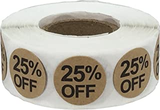 Natural Kraft 25% Percent Off Stickers for Retail 0.75 Inch 500 Adhesive Labels