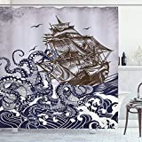 onepicebest Nautical Shower Curtain, Octopus Kraken Tentacles with Ship Sail Old Boat in Ocean Waves...