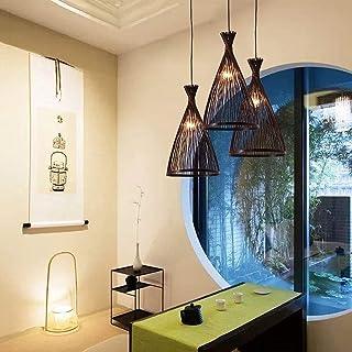 OHKKSD Lustre en Bambou, Lampe Suspendue Vintage en rotin Naturel, luminaire extérieur intérieur, luminaire Suspendu, Aba...