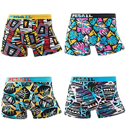 4er Pack Boxershorts Herren | Boxer Pants Männer Bunte lustige Retroshorts M /