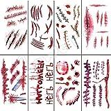 6 Piezas De Sangrado Sangriento De Halloween Cicatrices De Miedo Pegatinas De Tatuaje Temporal Impermeables Para Bromas Prácticas