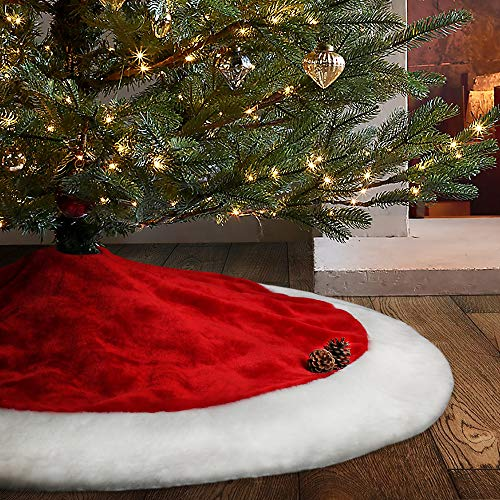 Meriwoods Christmas Tree Skirt, 48 inches Large Plush Mercerized Velvet Skirt, Rustic Xmas Tree Holiday Decorations, Classic Red and White