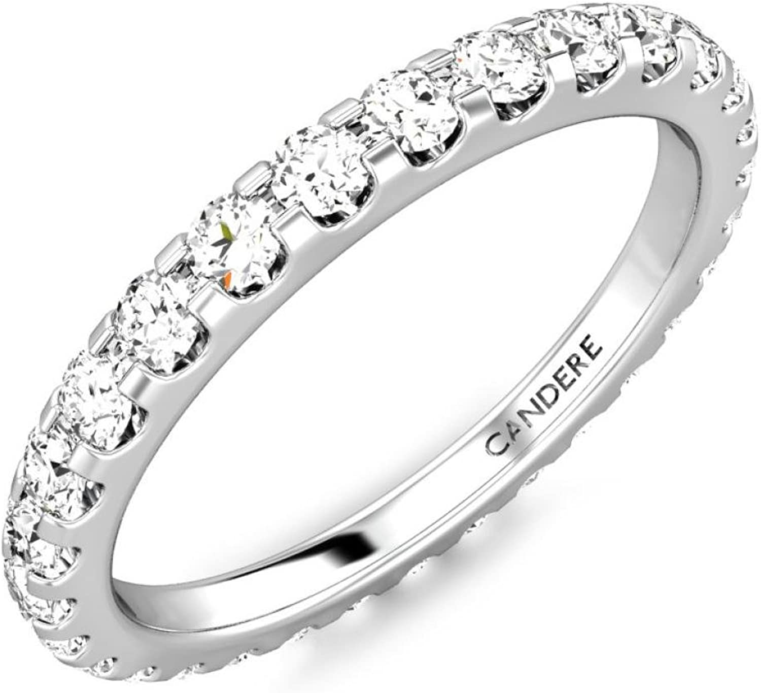 3 5 cttw (0.60 ct) Full Eternity Wedding Engagement Diamond Ring for Women in 925 Sterling Silver & 14K gold (IJ SI1SI2)