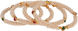 Efulgenz Fashion Jewelry Indian Bollywood 14 K Gold Plated Faux Pearl Crystal Multicolor Bracelets Bangle Set (4 Pc)