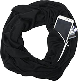 Jade Marie Infinity Scarfs for Women, Lightweight Arrow Scarf with Zipper Pocket