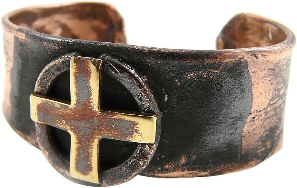 American Made Rustic Unisex Copper Cuff Bracelet - Sun Cross