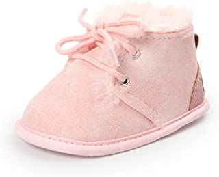 Meckior Winter Newborn Unisex Baby Girls Boys Velvet Rubber Sole Anit-Slip Shoes Prewalker Boots (6-12 Months Infant, C-Pink)