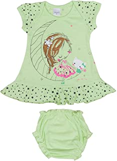 Hopscotch Baby Girls Cotton Short Sleeves Printed Dress with Bloomer in Green Color