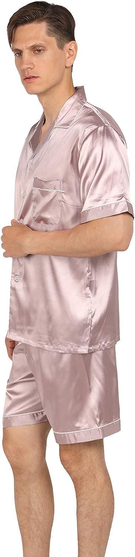 YIMANIE Mens Silk Satin Pajamas Set Short Sleeve and Shorts Classic Sleepwear Loungewear