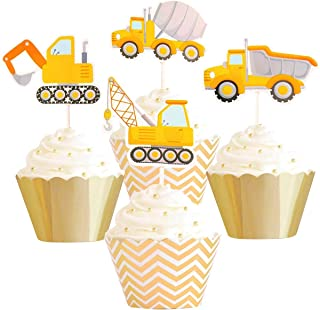 Betop House Set of 12 Pieces Construction Vehicles Themed Truck Excavator Party Kids Birthday Baby Shower Cake and Cupcake Decorative Topper Kit Party Supplies