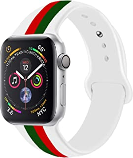 Sport Band Compatible with Apple Watch, Premium Sport Durable Soft Silicone Bracelet Wrist Strap Replacement Band for Series 5 4 3 2 1 (42MM/44MM M/L White G Red)
