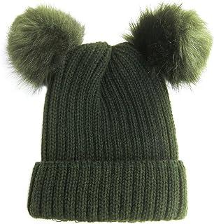 SJ New Women's Trendy Winter Warm Cable Knit Double POM POM Fashion Beanies MM6048