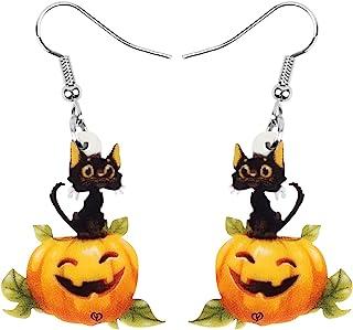 NEWEI Acrylic Halloween Anime Pumpkin Black Cat Earrings Drop Dangle Jewelry For Women Girls Teens Kids Charm Gifts