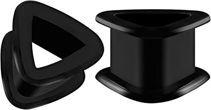 BIG GAUGES Pair of Silicone Black Triangle Double Flared Saddle Piercing Jewelry Stretcher Ear Ring Lobe Earring Flesh Tunnel Plugs