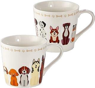 Juego de 2 Tazas Desayuno Originales de Porcelana Fina, Taza de Café Grandes con Diseño de Perros, Regalo para Mujer y Hom...