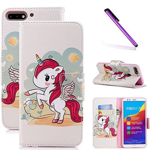 COTDINFOR Huawei Y7 2018 Hülle süß für Geschenk Lederhülle süß Schutzhülle PU Leder Flip Bookcase Handy Tasche Magnet Etui für Huawei Honor 7C Red Unicorn BF.