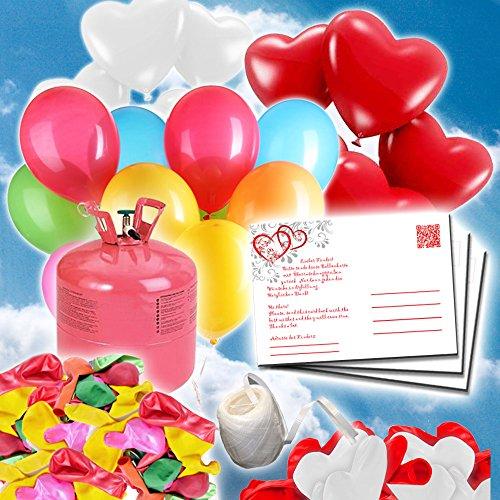 galleryy.net 35 Ballonflugkarten zur Hochzeit GELOCHT Flugkarten für Hochzeitsballons - Ballonflugkartenset - Hochzeit rote Herzen
