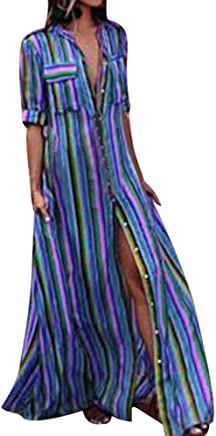 Fanyunhan Women Half Sleeve Striped Dress Multicolor Loose Button Maxi Dress Boho Beach Sundress Robe Dress