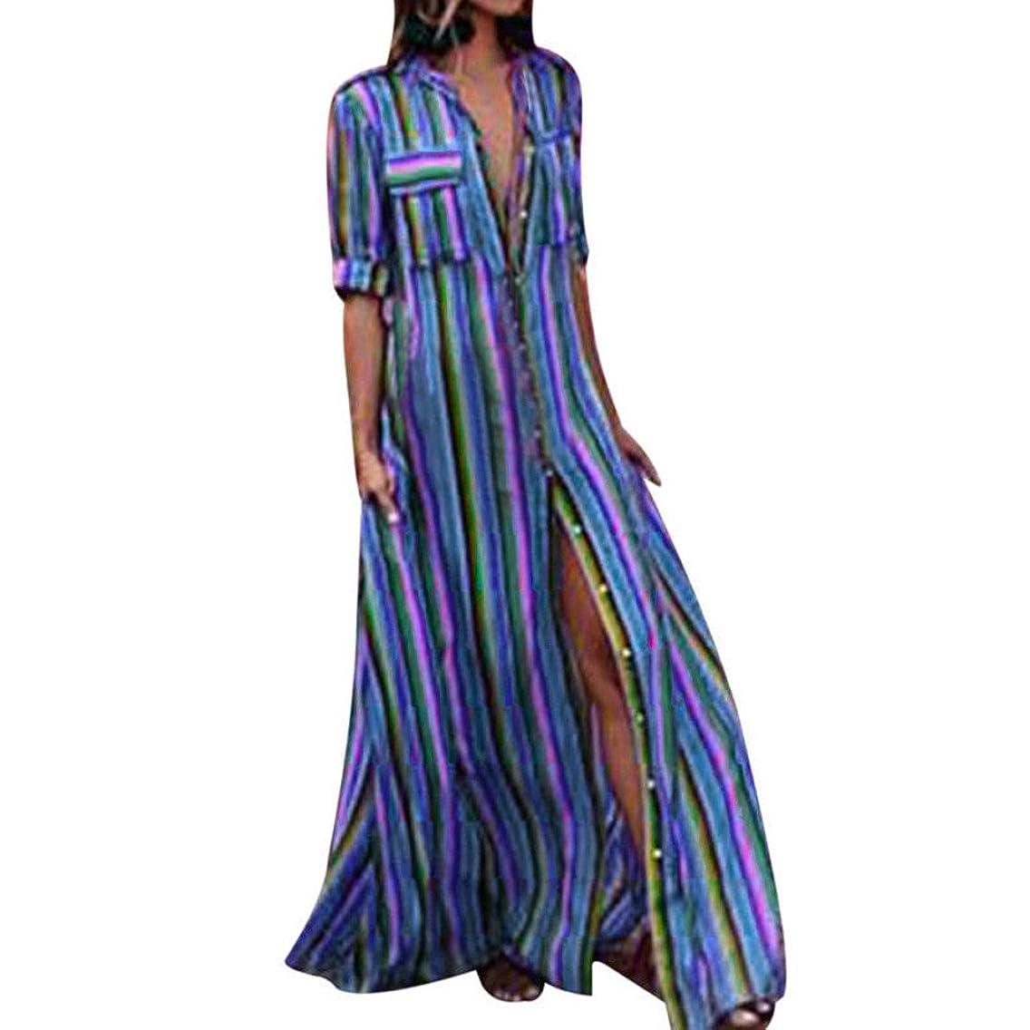POTO Dress for Women,Striped Multicolor Button Bohe Long Robe Dress Evening Party Dress Beach Dress Sundress