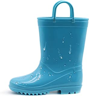 EUXTERPA Toddler-Kids Eco-Friendly Rain Boots, Waterproof Boots with Easy-On Handles for Girls and Boys