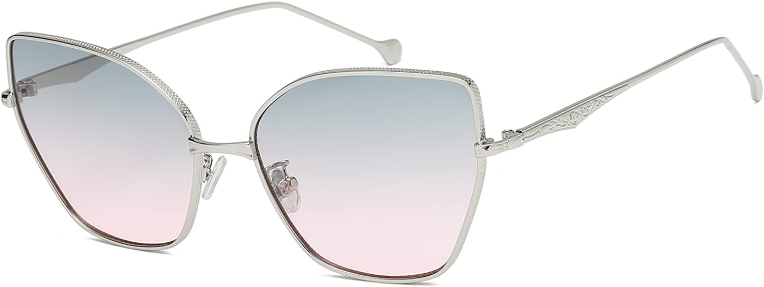 MAREINE Cateye Sunglasses Metal Frame With Butterfly Style