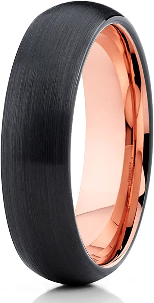 Ranking TOP20 Silly Kings Attention brand 5mm Rose Black Gold Ring Tungsten