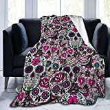Throw Blanket Purple Sugar Candy Skulls Summer Cooling Blanket Super Soft Micro Fleece Blanket Lightweight Comfort Warm for Couch Travel Chair - All Season Premium Bed Blanket 60 X 50 Inches