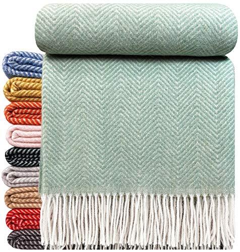 STTS International Wohndecke Wolldecke Decke sehr weiches Plaid Kuscheldecke 140 x 200 cm Wolle Milano/Verona Minze (M)