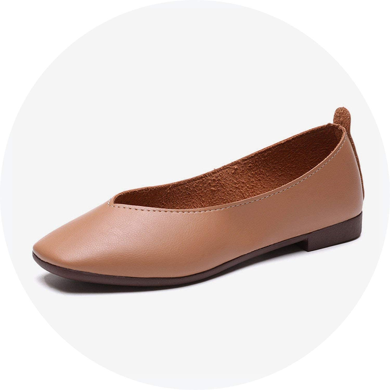 Crazy-shop Women's Platform Casual Ballet Flats Autumn Soft Square Toe Faux Leather shoes Slip On Loafers