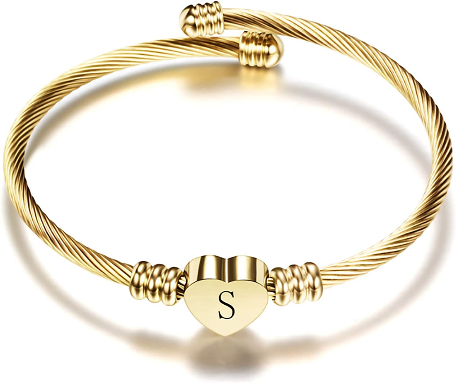 Chili Jewelry Gold Plated Heart Initial A-Z Letter Cuff Bracelets for Women Girls Expandable