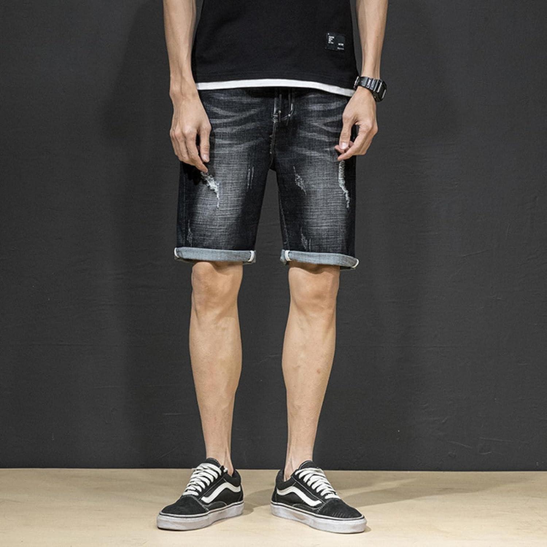 WoJogom 2021 Spring Summer Men's Denim Shorts Men's Clothing Beach Ripped Jeans Denim Cotton Short Casual Business Social Men Shorts
